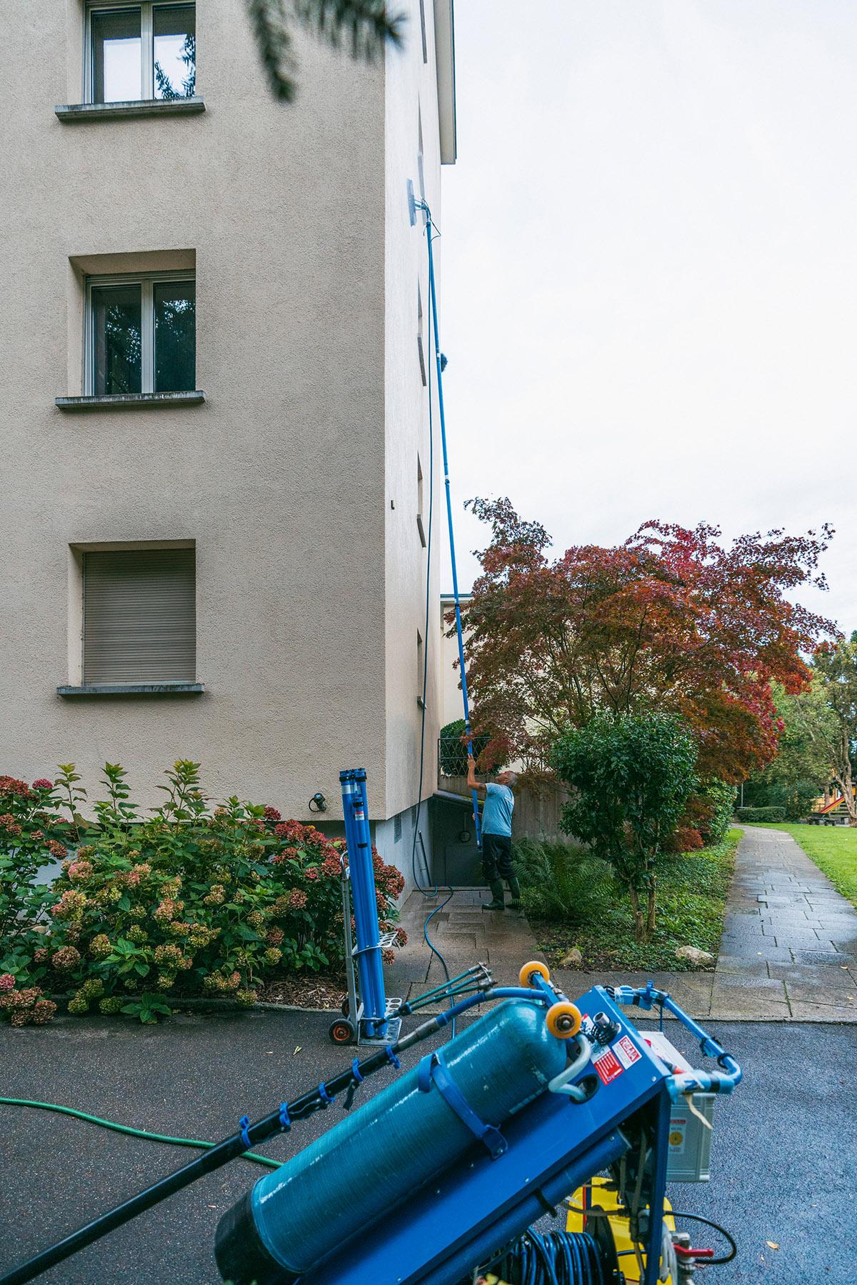 Reinigung von Fassaden in einer Höhe bis zu 20 Metern in Zürich, Luzern, St. Gallen, Thurgau